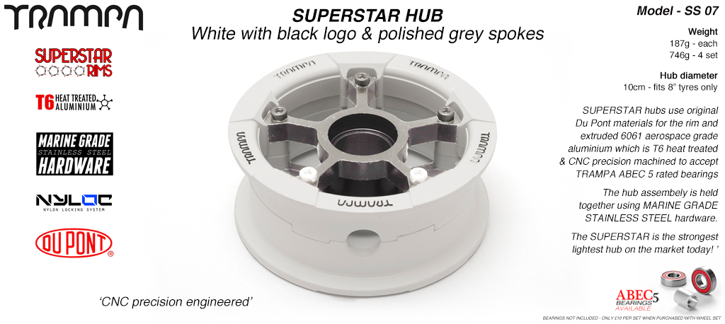 Superstar Hub - White Gloss & Black logo Rim with Silver anodised Spokes