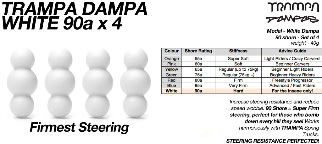 White TRAMPA Dampa's 90 Shore - 5 Star Stiffness (for the insane only!)