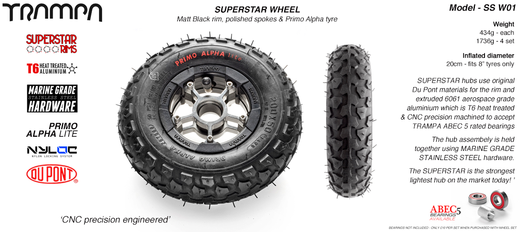 Superstar 8 inch wheel - Superstar 8 inch wheel - Matt Black Rim with Silver Anodised Spokes & Black Alpha 8 Inch Tyres