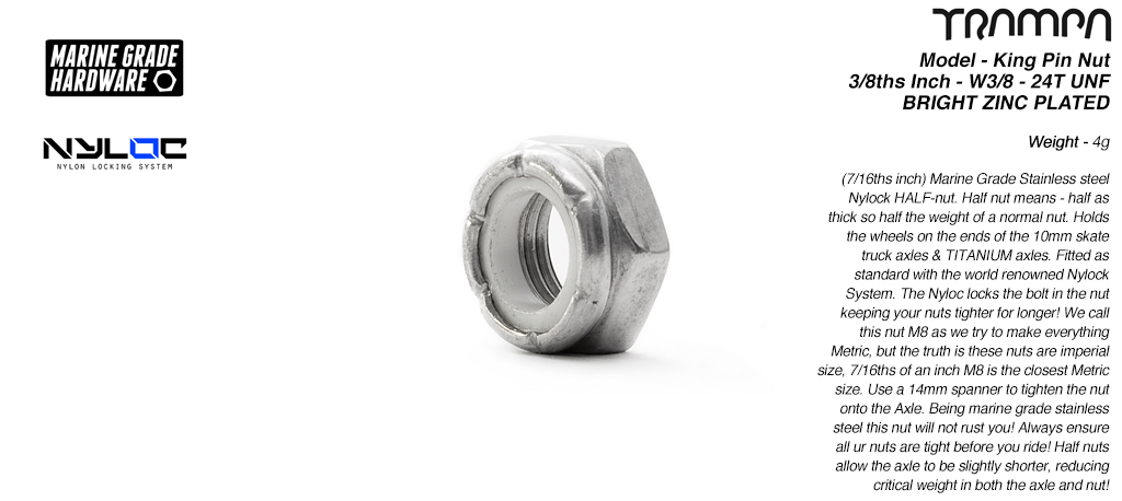 3/8ths Nut - Marine Grade Stainless steel Nylock HALF nut W3/8 - 24T UNF