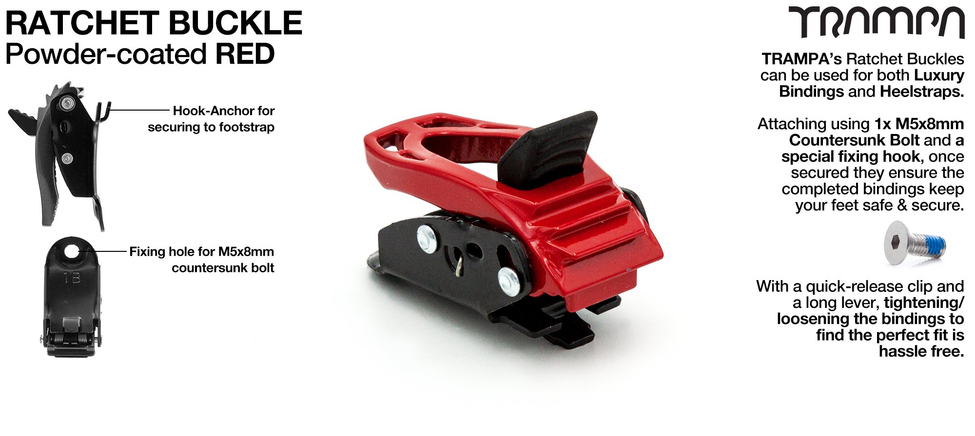 Ratchet Buckle Powder coated Red