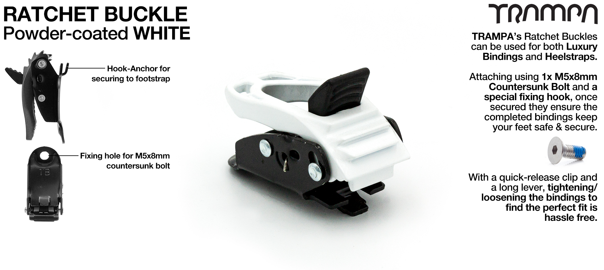 Ratchet Buckle Powder coated White