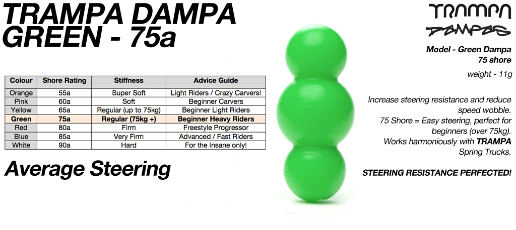 GREEN TRAMPA DAMPA - 75a Shore - 2 Star Regular steering
