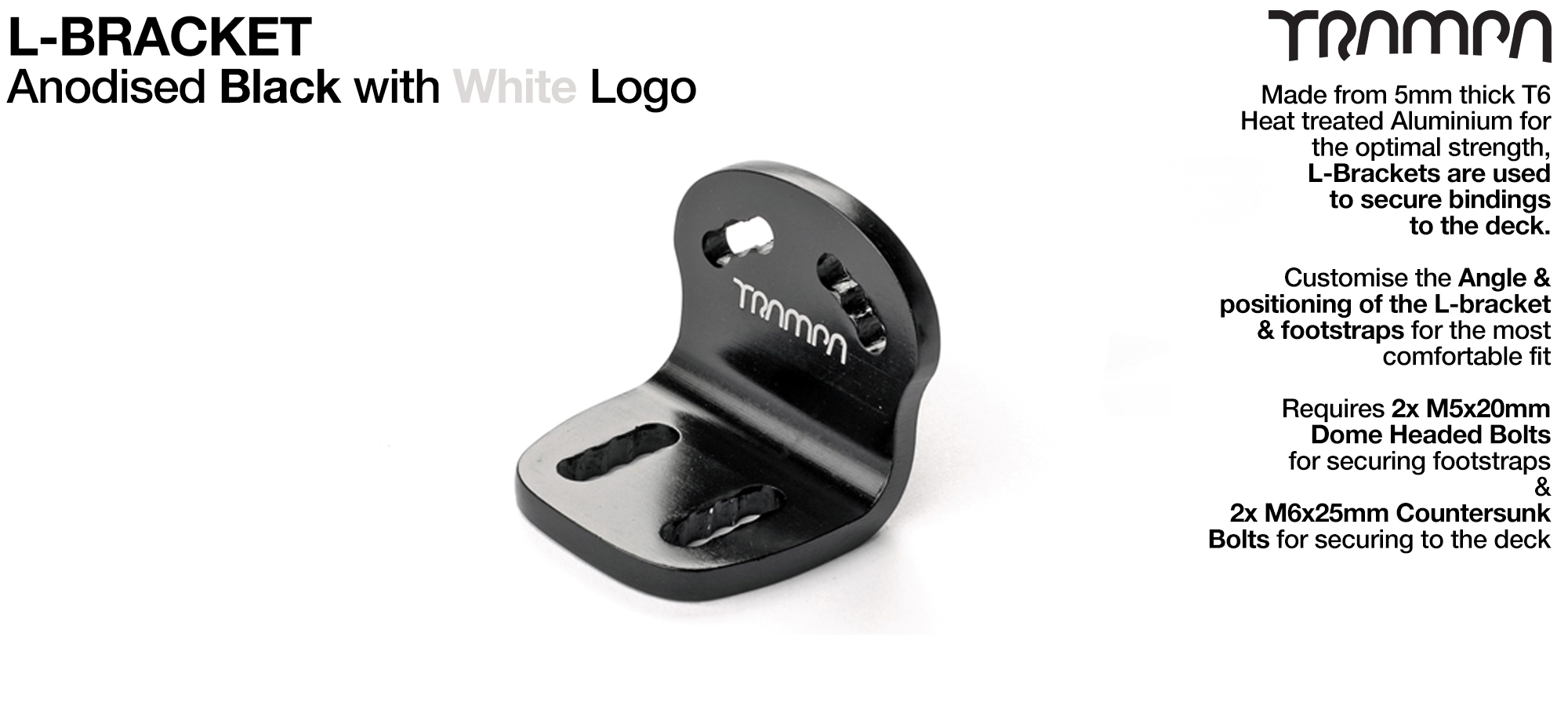 L Bracket - Anodised BLACK with WHITE logo L