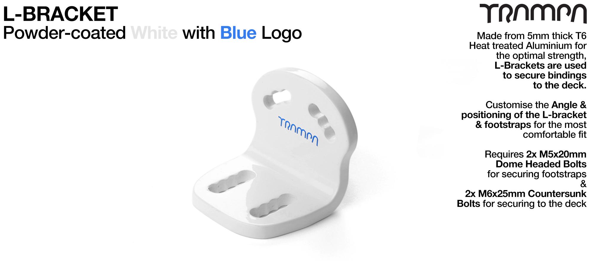 L Bracket - Powder coated WHITE with BLUE logo