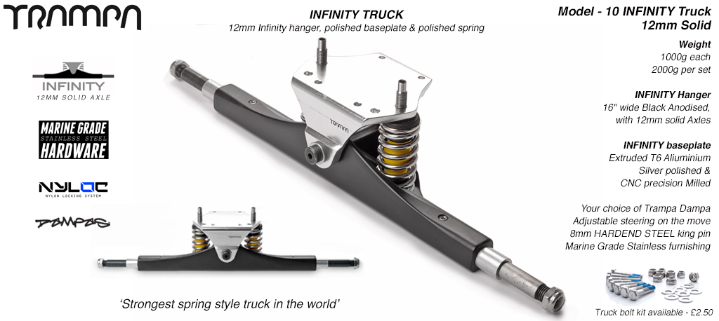 INFINITY Truck - 12mm SOLID Axles Silver Infinity baseplate & Nickel Plated kingpin