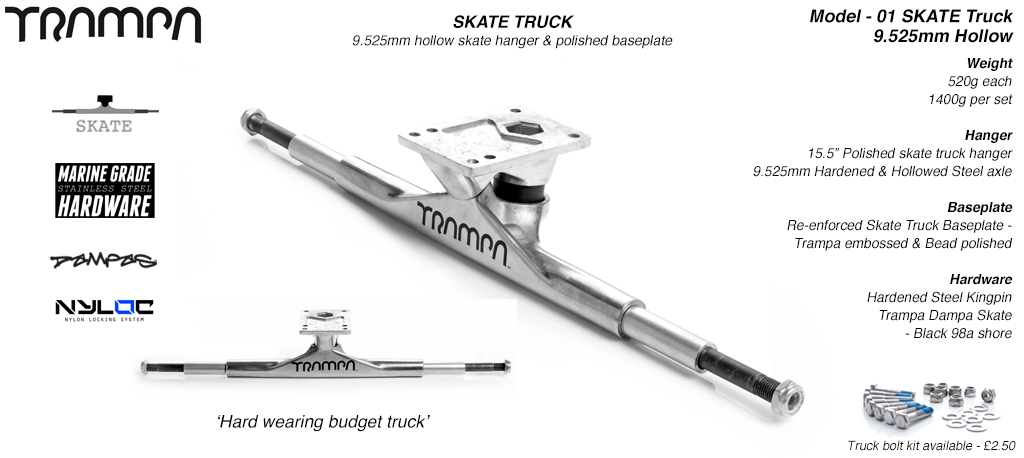 9.525mm HARDENED & HOLLOWED Steel axle Skate Truck