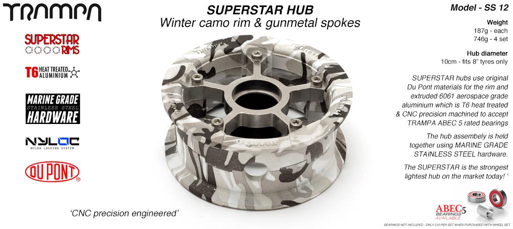 Superstar Hub - Winter Camo Rim with Gunmetal anodised spokes