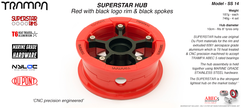 Superstar Hub - Red Gloss & Black logo Rim with Black anodised Spokes