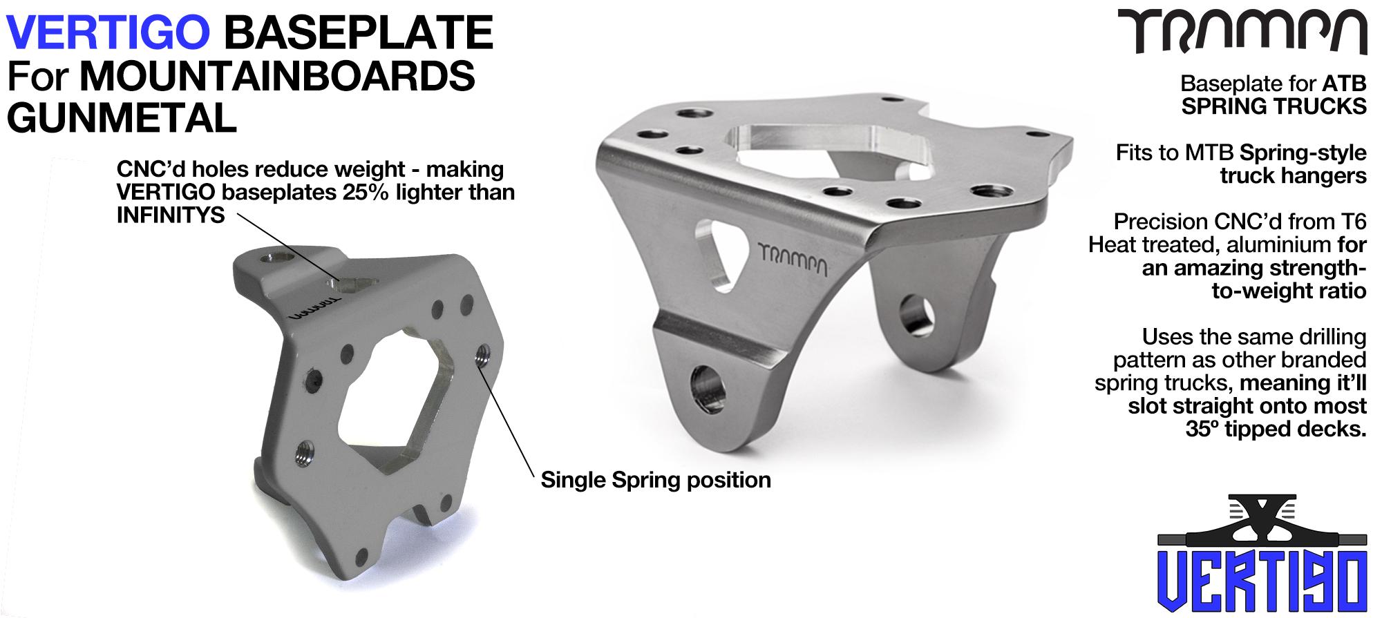 VERTIGO Baseplate GUNMETAL - T6 Aluminum Anodised & CNC lightened - Black logo