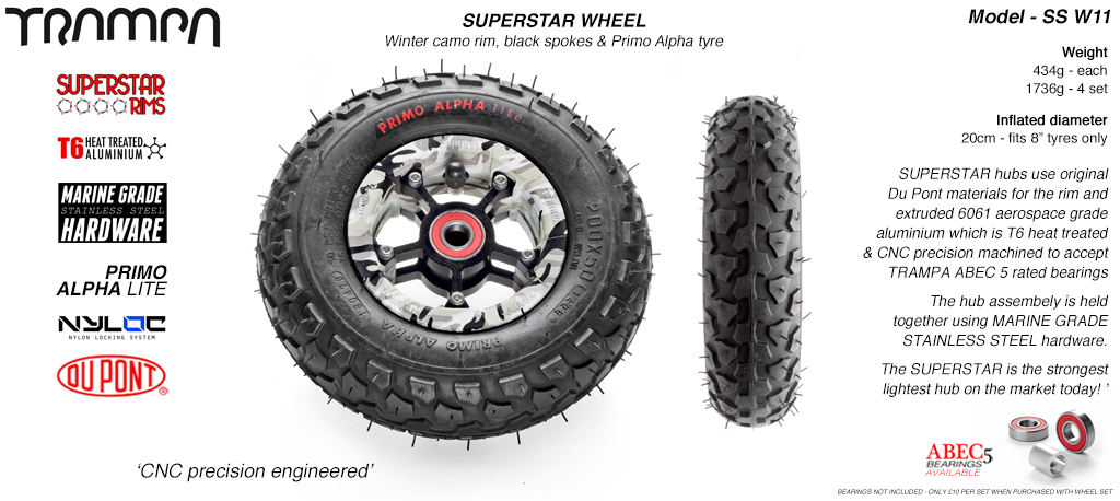 Superstar 8 inch wheel - Winter Camo Rim Black Anodised spokes & Black Alpha 8 Inch Tyres