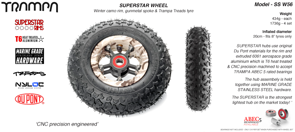 Superstar 8 inch wheel - Winter Camo Rim with with Gunmetal Anodised spokes and TRAMPA TREAD 8 Inch Tyres