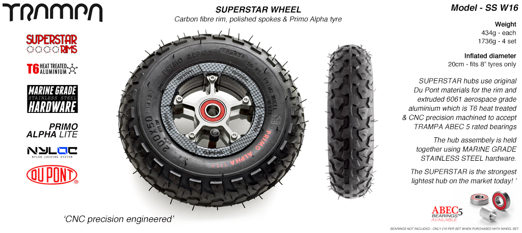 Superstar 8 inch wheel - Carbon Print Rim with Silver Anodised spokes & Black Alpha 8 Inch Tyres