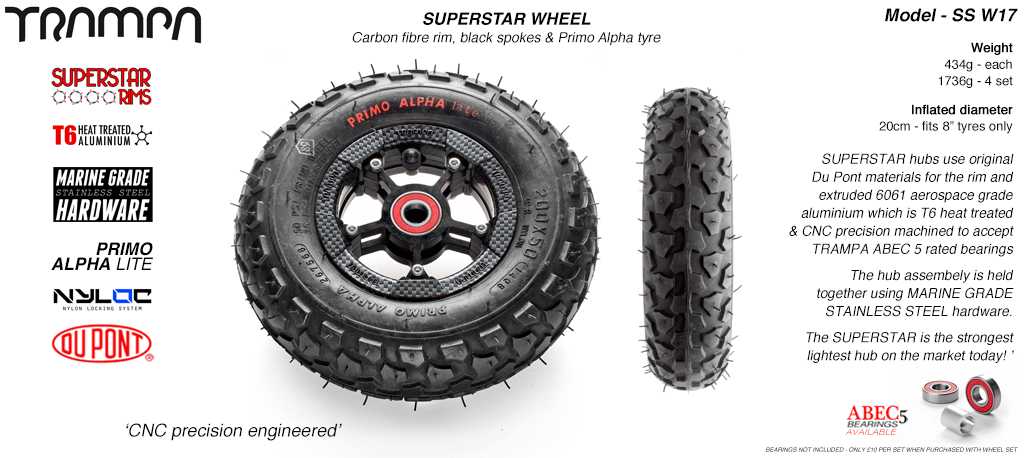 Superstar 8 inch wheel - Carbon Print Rim with Black Anodised spokes & Black Alpha 8 Inch Tyres
