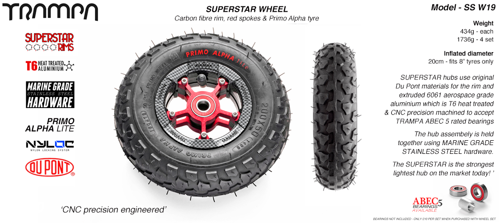 Superstar 8 inch wheel - Carbon Rim with Red Anodised spokes & Black Alpha 8 Inch Tyres
