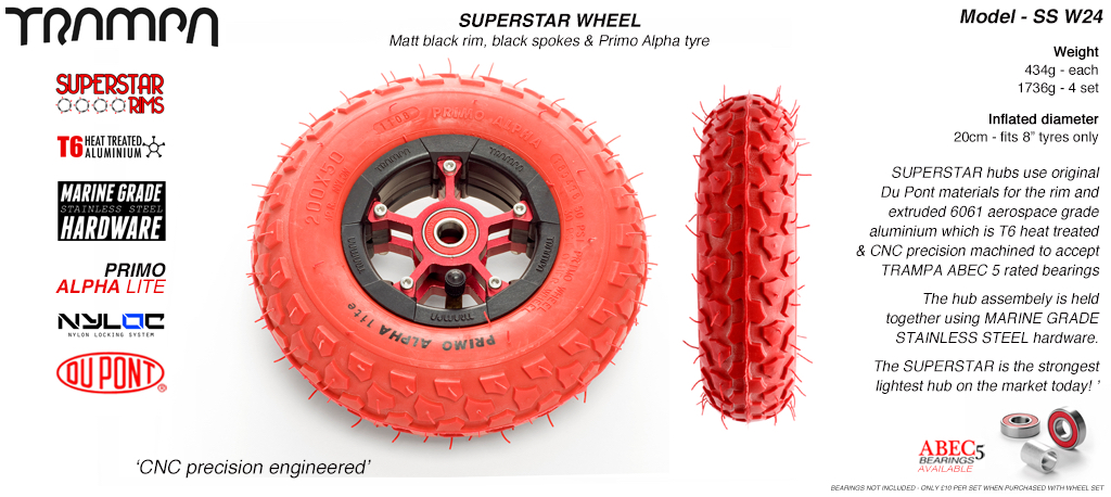 Superstar 8 inch wheel - Matt Black Rim with Red Anodised spokes & Red Alpha 8 Inch Tyres