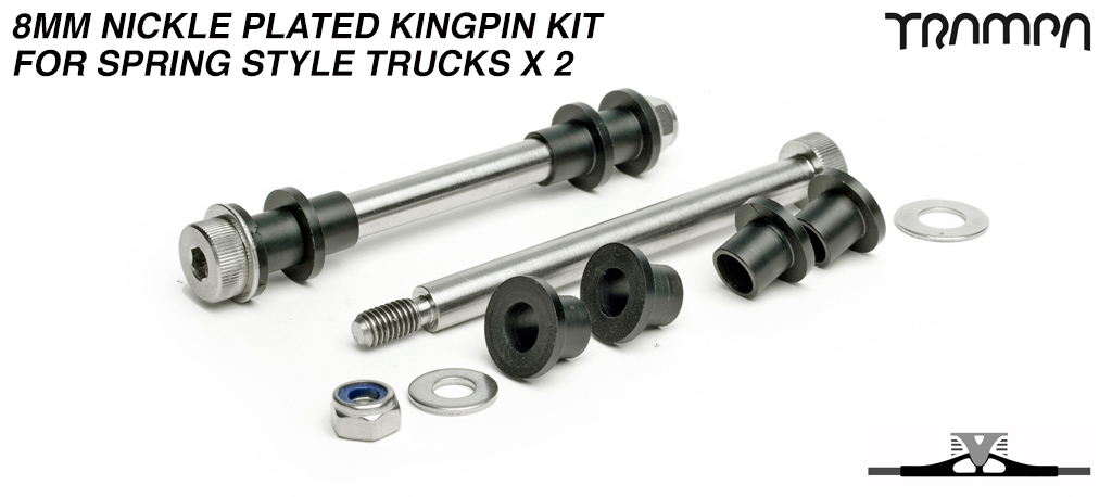 8mm Nickle Plated Kingpin re-fresh kit for Spring style Trucks x 2
