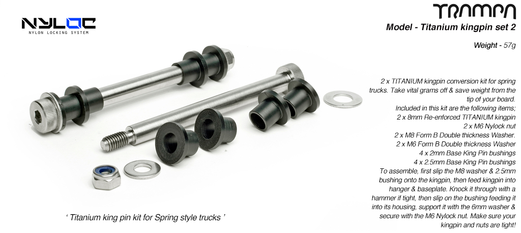 8mm Titanium king pin kit for TRAMPA spring Trucks x 2