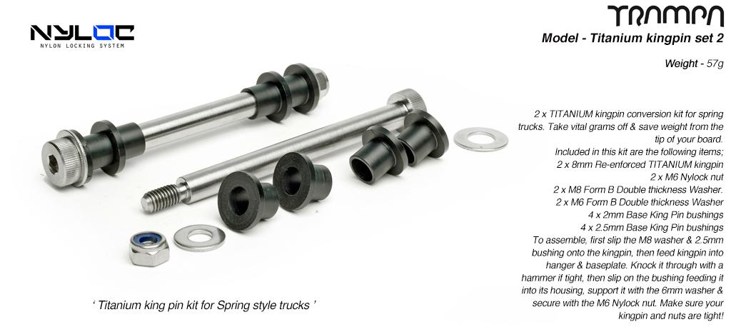 8mm Titanium king pin kit for TRAMPA spring Trucks x 2