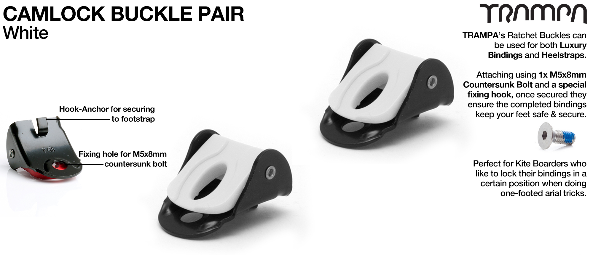 Camlock buckles for foot and heel strap Bindings - WHITE x 2