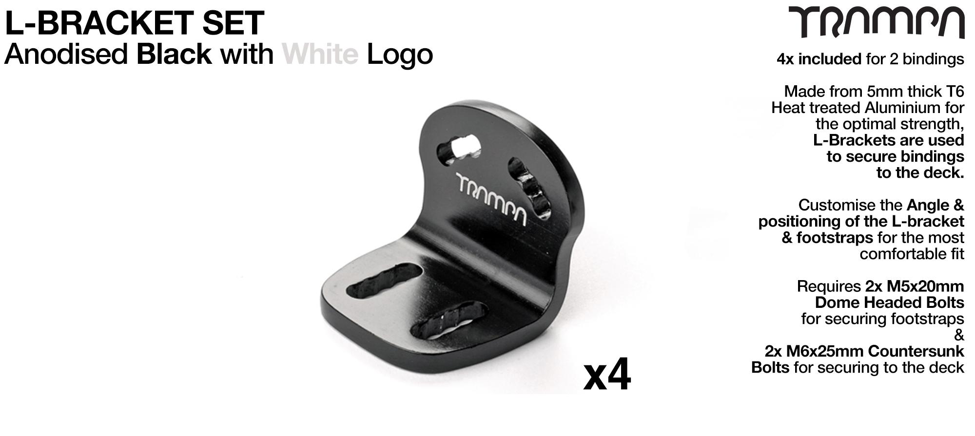 Black anodized with Laser logo L Bracket x 4