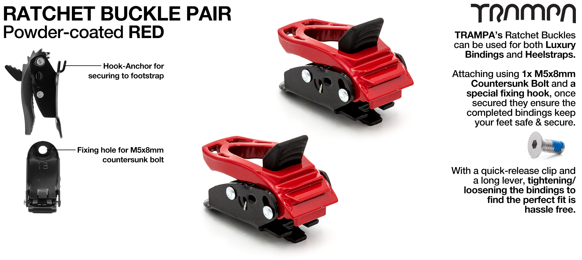 Red Powder Coated Ratchet Buckles x 2