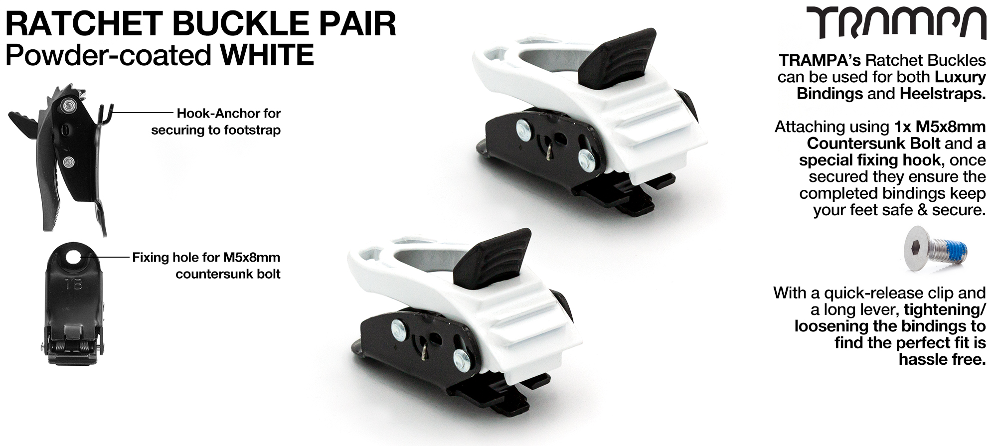 White Powder Coated Ratchet Buckles x 2