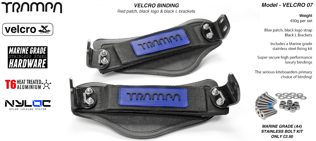 Nylon Hook Bindings - Blue patch with Black logo Nylon Hook straps with Black L Brackets
