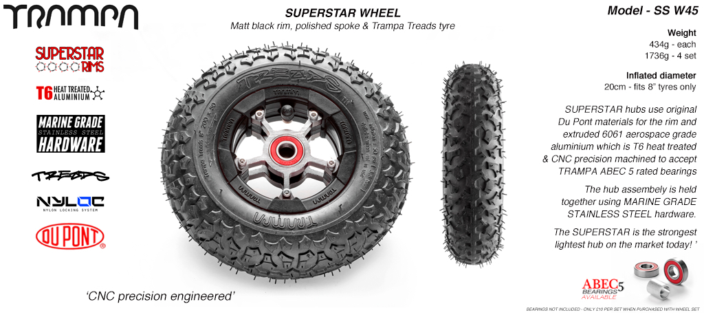 Superstar 8 inch wheel - Matt Black Rim with Silver Anodised spokes & TRAMPA TREAD 8 Inch Tyres