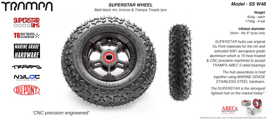 Superstar 8 inch wheel - Matt Black Rim with Gunmetal Anodised spokes & TRAMPA TREAD 8 Inch Tyres