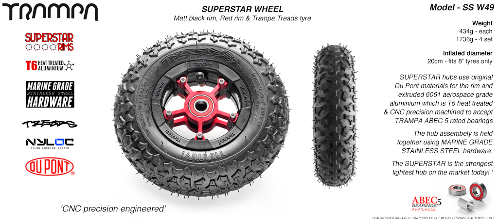 Superstar 8 inch wheel - Matt Black Rim with Red Anodised spokes & TRAMPA TREAD 8 Inch Tyres
