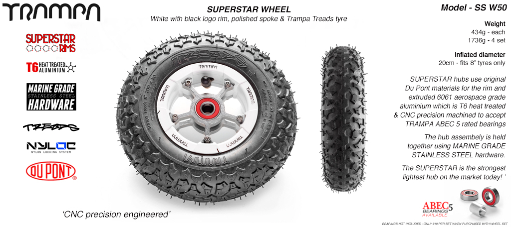 Superstar 8 inch wheel - White Gloss Rim with Silver Anodised spokes & TRAMPA TREAD 8 Inch Tyres