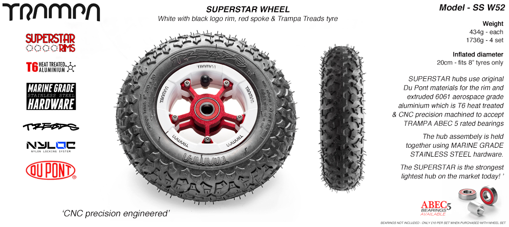 Superstar 8 inch wheel - White Gloss Rim with Red Anodised spokes & TRAMPA TREAD 8 Inch Tyres