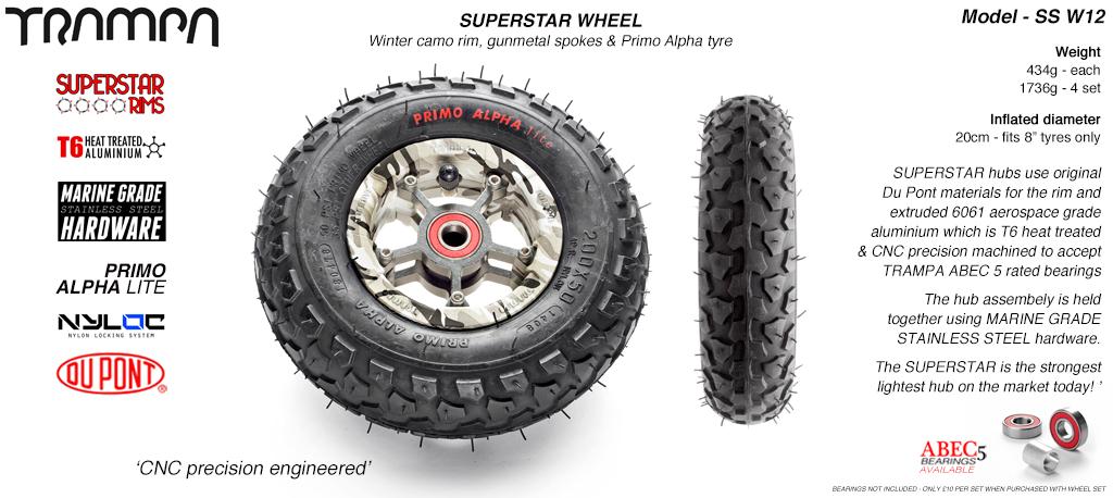Superstar 8 inch wheel - Camo Rim with Gunmetal Anodised spokes & Black Alpha 8 Inch Tyres