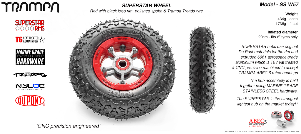 Superstar 8 inch wheel - Red Gloss Rim with Silver Anodised spokes & TRAMPA TREAD 8 Inch Tyres
