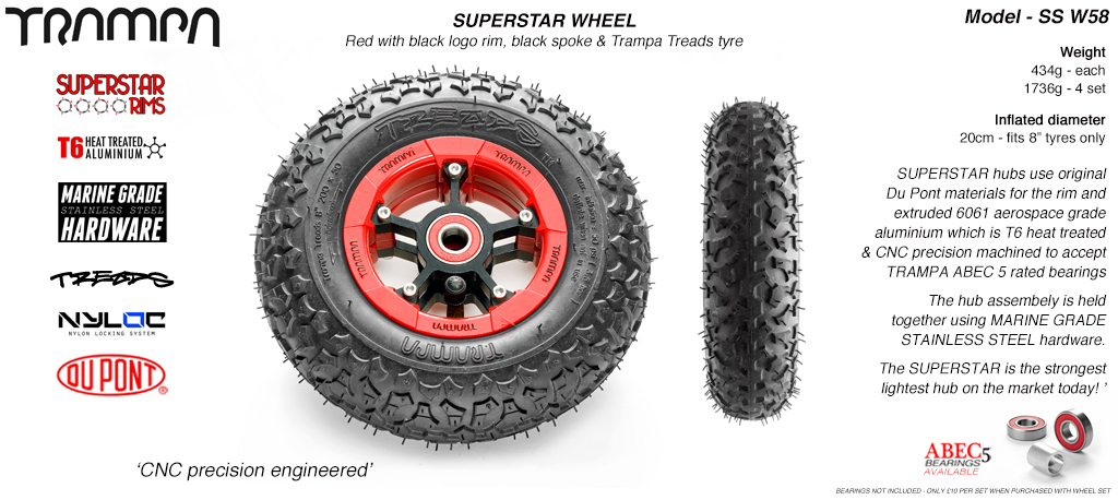 Superstar 8 inch wheel - Red Gloss Rim with Black Anodised spokes & TRAMPA TREAD 8 Inch Tyres