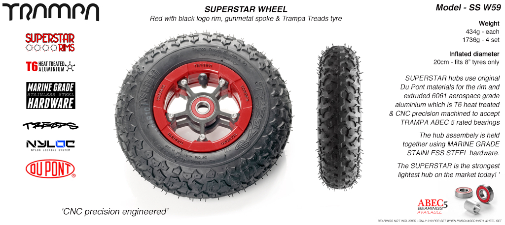 Superstar 8 inch wheel - Red Gloss Rim with Gunmetal Anodised spokes & TRAMPA TREAD 8 Inch Tyres