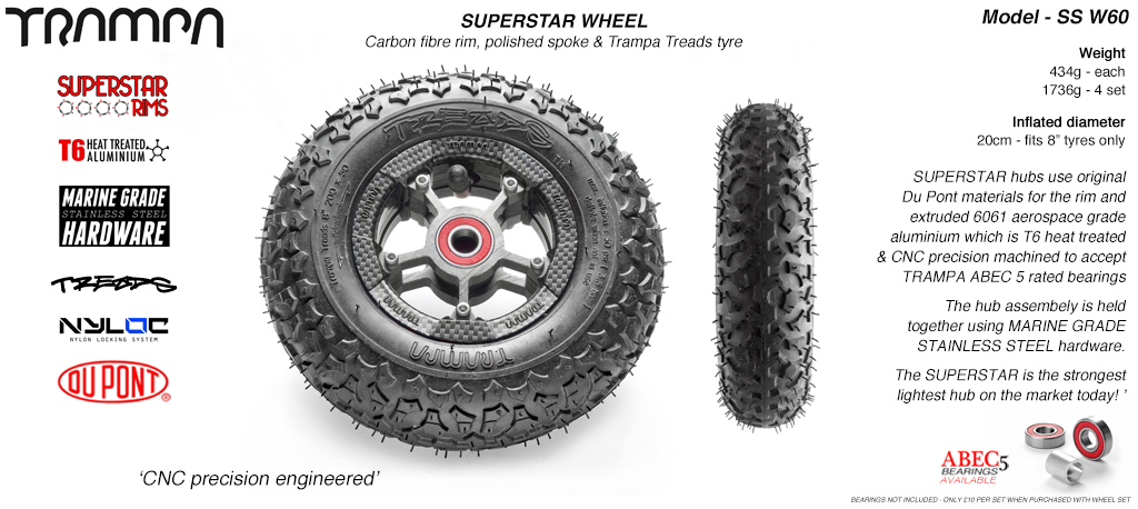 Superstar 8 inch wheel - Carbon Print Rim with Silver Anodised spokes & TRAMPA TREAD 8 Inch Tyres