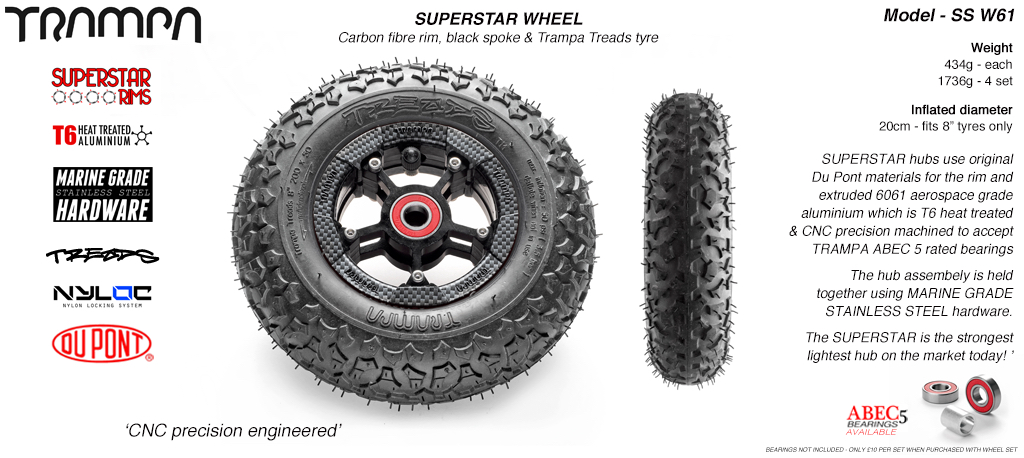 Superstar 8 inch wheel - Carbon Print Rim with Black Anodised spokes & TRAMPA TREAD 8 Inch Tyres