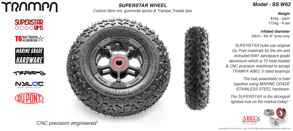 Superstar 8 inch wheel - Carbon Print Rim with Gunmetal Anodised spokes & TRAMPA TREAD 8 Inch Tyres