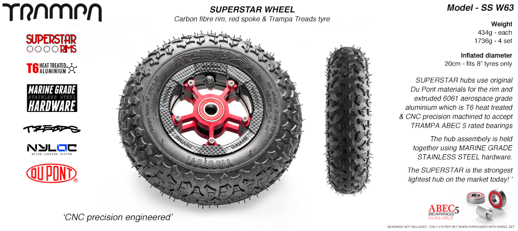 Superstar 8 inch wheel - Carbon Print Rim with Red Anodised spokes & TRAMPA TREAD 8 Inch Tyres