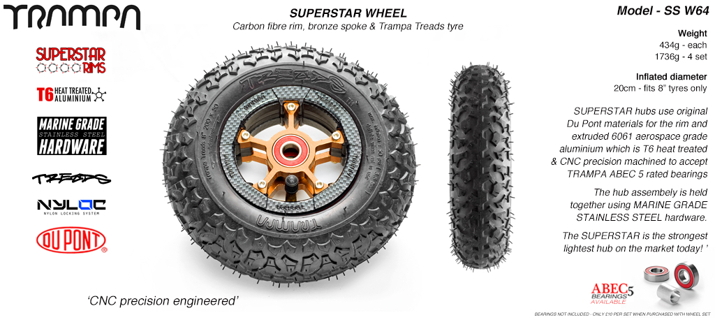 Superstar 8 inch wheel - Carbon Rim with Bronze Anodised spokes & TRAMPA TREAD 8 Inch Tyres