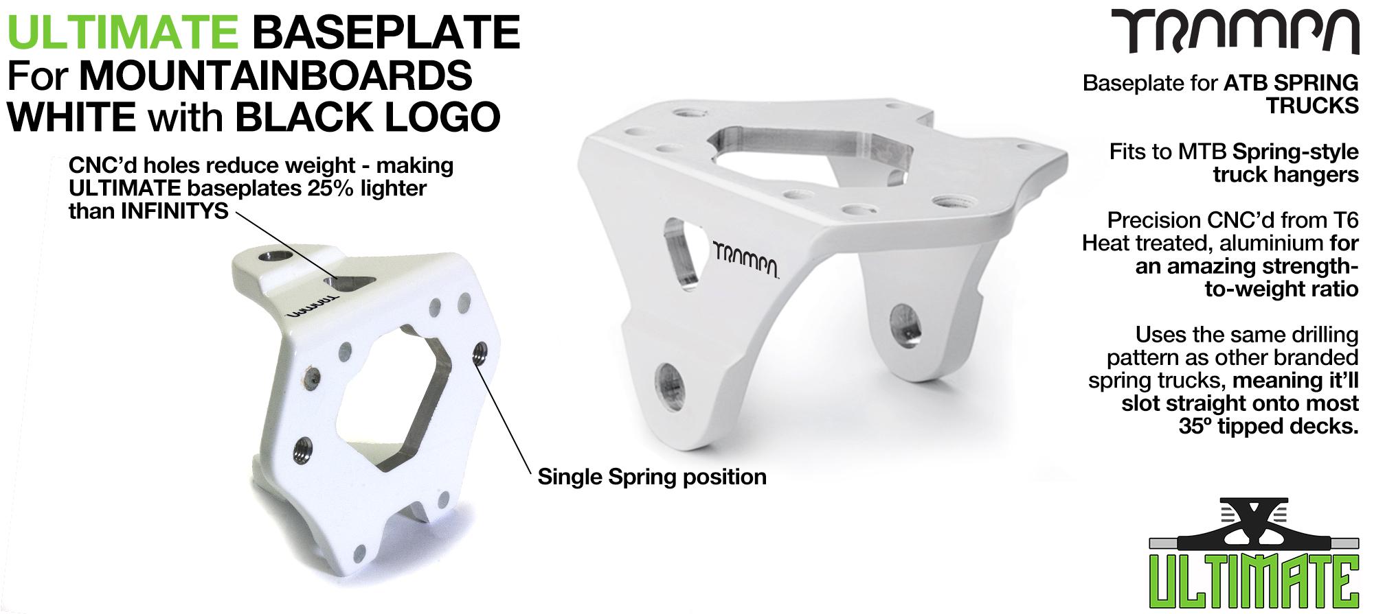 ULTIMATE Baseplate WHITE - T6 Aluminum Powder coated & CNC lightened - Black logo
