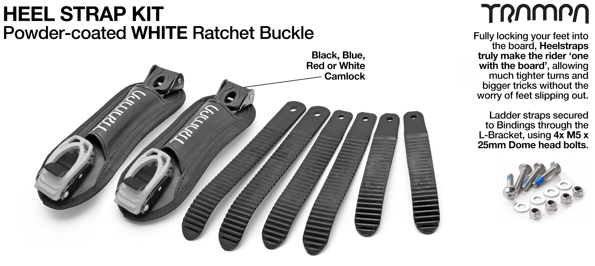 Heel Straps with WHITE Ratchets