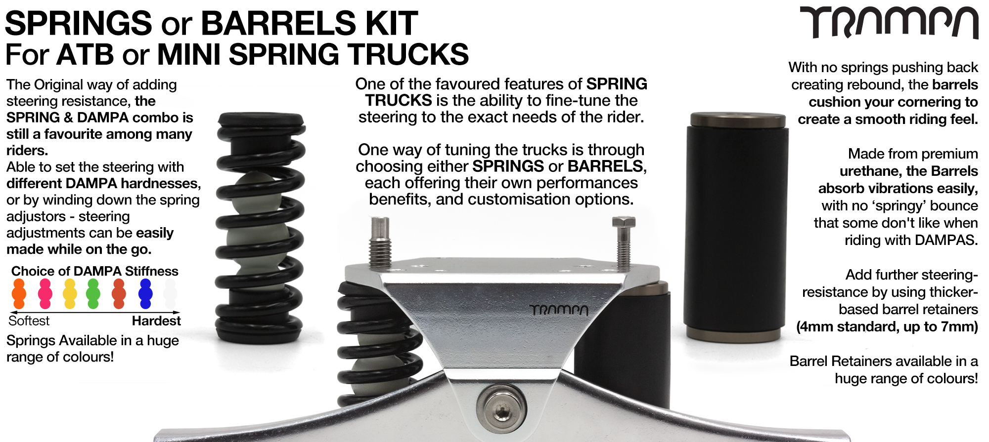 Spring kit Complete for 1x Truck - 2x Spring 2x Dampa 4x Spring Retainers 2x Spring Adjuster & 2 M5x12mm Countersunk Bolt