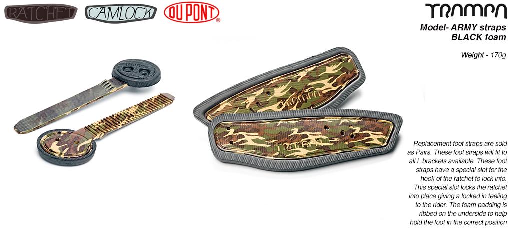 Ratchet Binding Footstrap & Ladder - Army Camo print straps on Black Foam