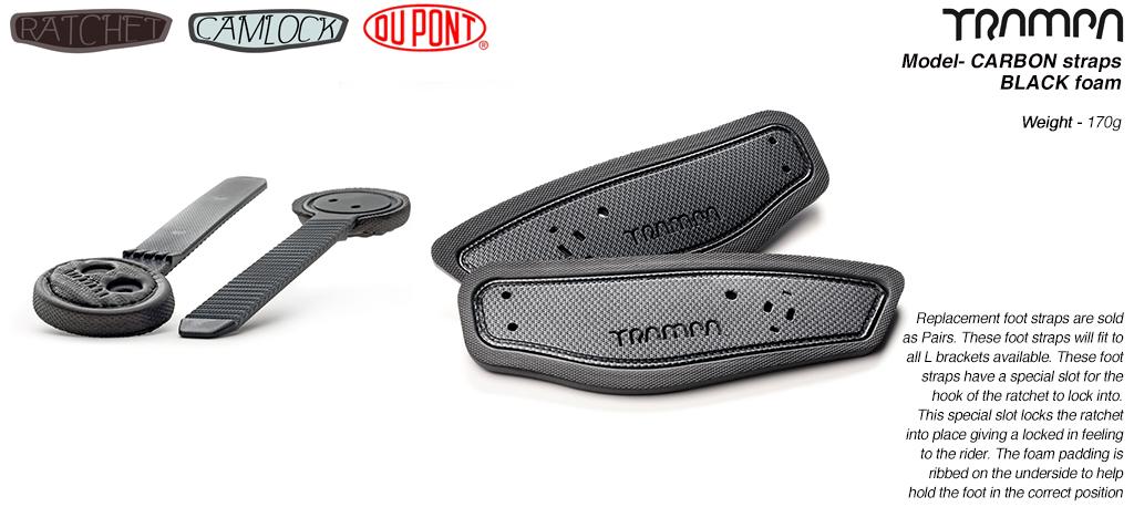 Ratchet Binding Footstrap & Ladder - Carbon Print straps on Black foam