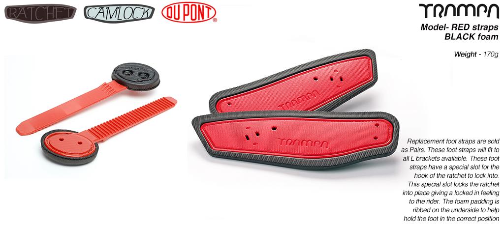 Ratchet Binding Footstrap & Ladder - RED straps on BLACK foam