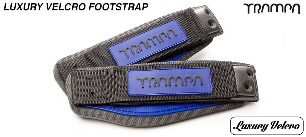Blue patch & Black logo Luxury Velcro Footstraps