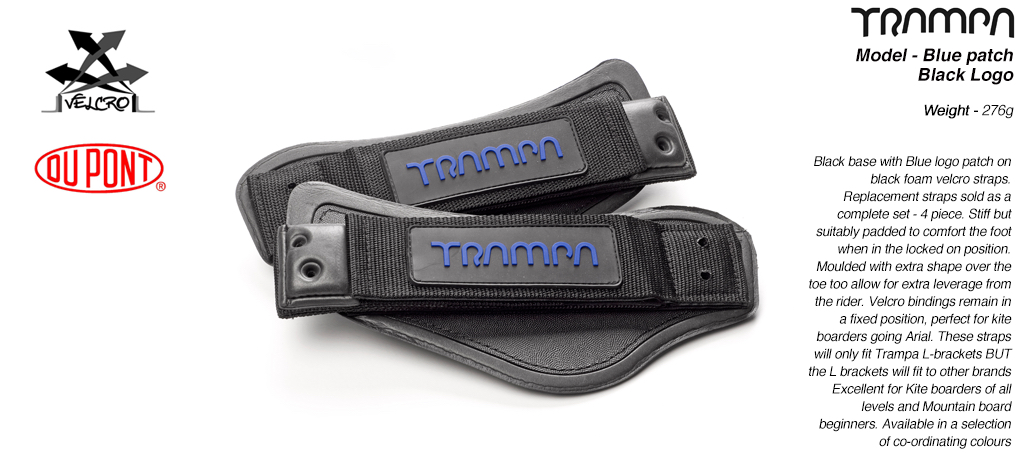 Black base & Blue logo patch Velcro Footstraps